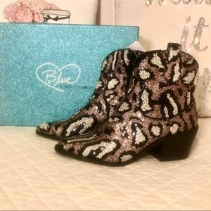 Betsey Johnson Sequined Leopard Booties